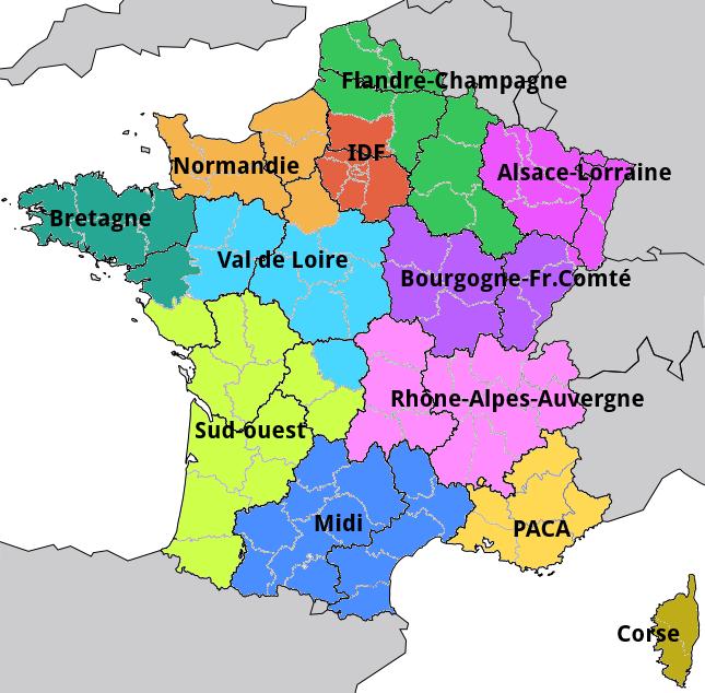 Hypothèse: 12 nouvelles régions.